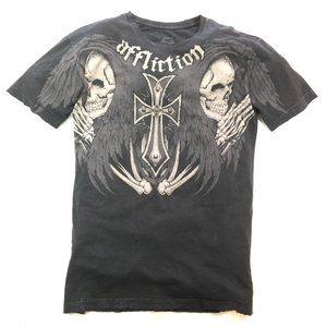 Affliction T Shirt Kelly Pavlik Ghost Black Sz XL